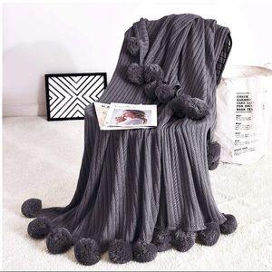 Pompom Fringe Chic Cozy Soft Throw Blanket/Cover